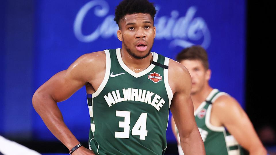 Giannis Antetokounmpo, pictured here in action for the Milwaukee Bucks in the NBA.