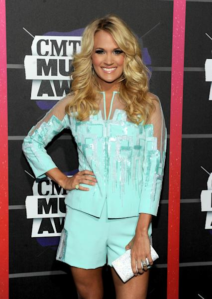 Carrie Underwood arrives at the 2013 CMT Music Awards at Bridgestone Arena on Wednesday, June 5, 2013, in Nashville, Tenn. (Photo by Frank Micelotta/Invision/AP)