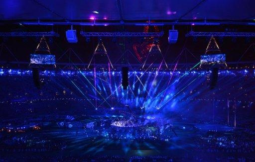 <p>A general view shows the arena during the closing ceremony of the London 2012 Paralympic Games at the Olympic Stadium in east London.</p>