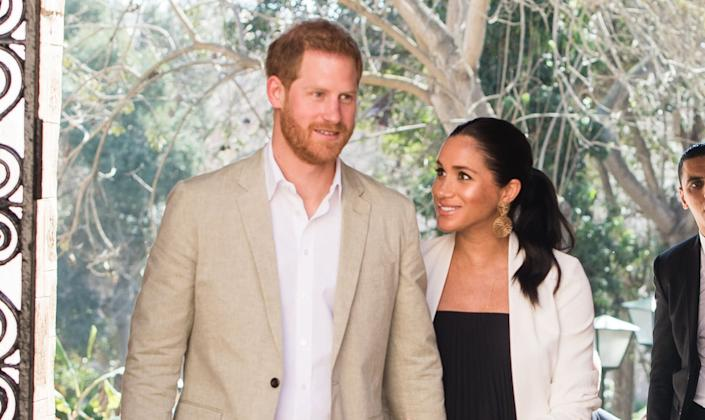 The Duke and Duchess of Sussex visit the Andalusian Gardens to hear about youth empowerment in Morocco on Feb. 25, 2019 in Rabat, Morocco. (Photo: Samir Hussein via Getty Images)