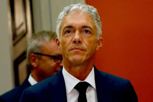 Swiss Attorney General Lauber gives a statement after his re-election in Bern