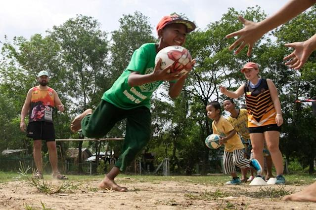 Try again: Little Dragons players in Myanmar prepare to take on children from the city's well-heeled international schools (AFP Photo/Sai Aung MAIN)