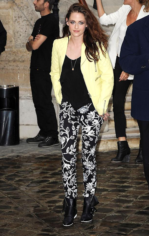 "We already know the majority of you out there are gonna hate this look (in addition to hating her), but there's just something about this Balenciaga biker jacket and patterned pants that works for Kristen Stewart. Edgy yet tailored. Loves it! (9/27/2012)<br><br><a target=""_blank"" href=""http://bit.ly/lifeontheMlist"">Follow 2 Hot 2 Handle creator, Matt Whitfield, on Twitter!</a>"