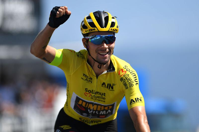 Roglic punches the air in celebration