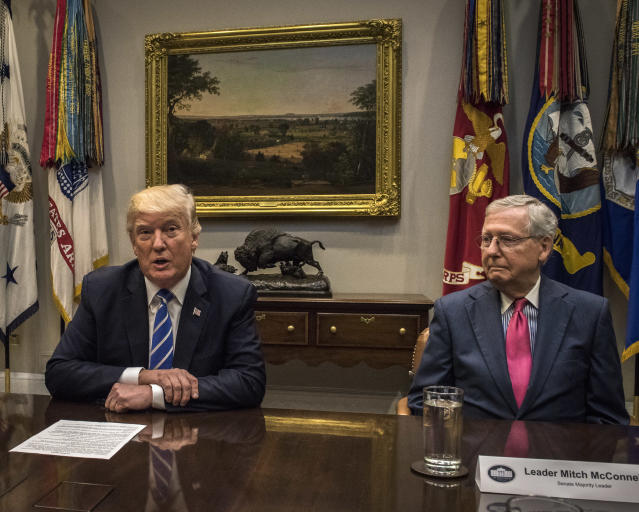 President Trump, left, meets with Hill leadership, including Senate Majority Leader Mitch McConnell, right, to discuss tax reform, on Sept. 5. (Photo: Bill O'Leary/The Washington Post via Getty Images)