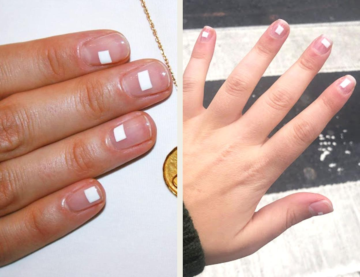 """<p>This is the style to convert even those who prefer a bare nail to a polished one. And it's the easiest to accomplish on your own! Just like how <a href=""""https://www.elle.com/beauty/makeup-skin-care/tips/g19/liquid-eyeliner-tape-trick-how-to/"""" target=""""_blank"""">Scotch tape can help perfect your eyeliner</a>, you can use it to make chic, geometric designs without worrying about being too precise. This style works best with solid, classic polish shades—Imarni did it in white, but I think it would just look good in a glossy black or classic red. </p><p><strong>How to:</strong> Tape four pieces of Scotch tape together to form the outline of a small rectangular window. It helps if you do all five (for your five fingers on each hand!) at once, so you don't have to wait for each nail to dry. Then, adhere to the tape, so the windows lay flat on your nails. Once they're flat, swipe your nail polish—I used <a href=""""https://tenoverten.com/products/034-white"""" target=""""_blank"""">Tenoverten's White</a>—over the top. You don't have to be careful about your application technique since the tape acts as a shield for the negative space. Once they're dry, peel off the tape and cover with topcoat. </p><p><em>Inspired by: <a href=""""https://www.instagram.com/p/BmX-GJAgT4u/"""" target=""""_blank"""">Imarni Nails</a></em></p>"""
