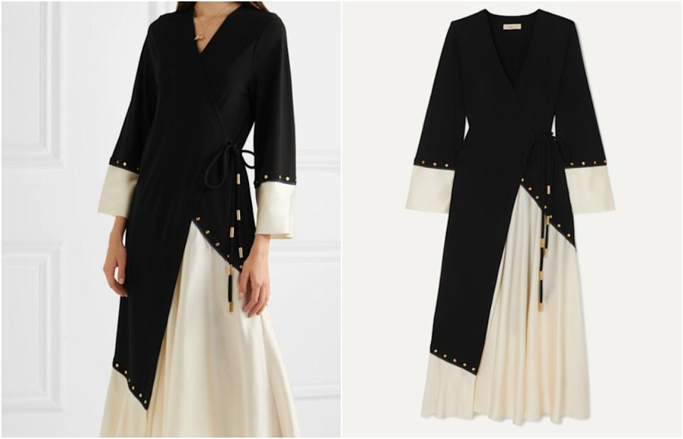 TORY BURCH Embellished two-tone crepe and satin wrap midi dress