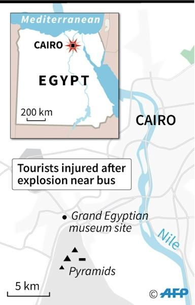 Map locating an explosion Sunday which struck a tourist bus near the pyramids close to Cairo, injuring 17 tourists