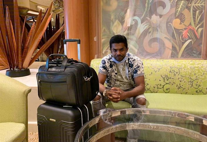 Gan Sungaralingum with his luggage on his last day aboard the Island Princess in Manila, July 3, 2020, before being flown to Amsterdam to board his third and final ship, the Emerald Princess.