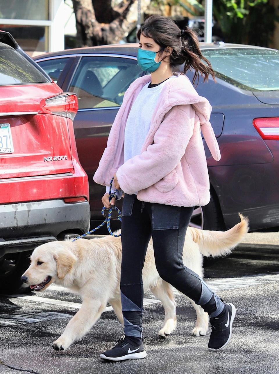 <p>Camila Cabello keeps her dog close during a walk in Los Angeles on Monday.</p>