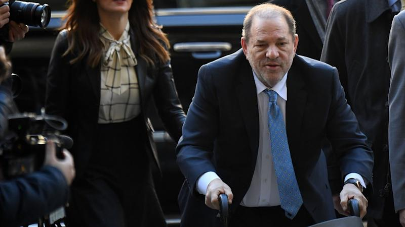 Harvey Weinstein pictured outside the Manhattan Criminal Court in February