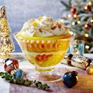 """<p>The retro mix of almonds and sugar sprinkles gives much needed crunch to the topping on this fruity but rich pud, but you could use some pared orange zest instead – clementines are generally too fragile for paring!</p><p><strong>Recipe: <a href=""""https://www.goodhousekeeping.com/uk/christmas/christmas-recipes/a34795272/clementine-prosecco-trifle/"""" rel=""""nofollow noopener"""" target=""""_blank"""" data-ylk=""""slk:Clementine and Prosecco Trifle"""" class=""""link rapid-noclick-resp"""">Clementine and Prosecco Trifle</a></strong></p>"""