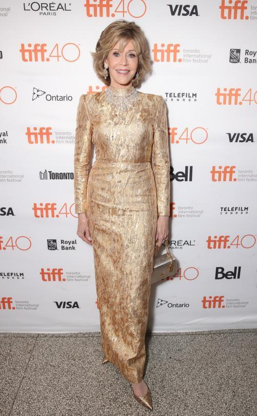 "<p>Jane Fonda shined even brighter than a diamond in a gold gown at the special presentation of ""Youth"" at the Toronto International Film Festival.</p>"