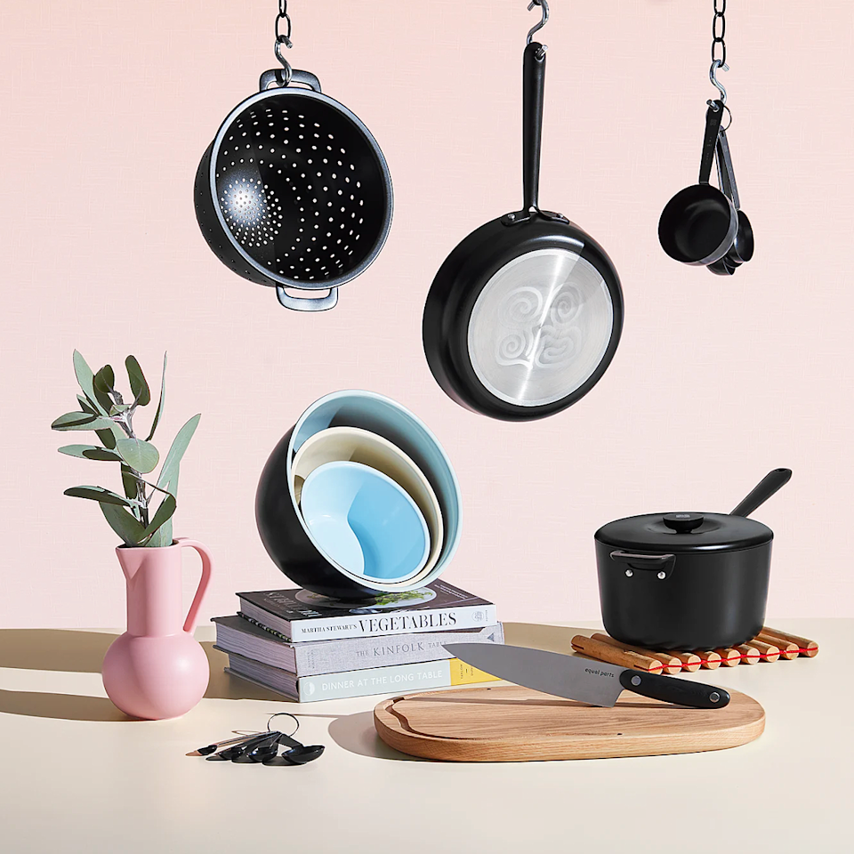 """<h3>Equal Parts</h3><br><strong>Best For</strong>: Bundled non-toxic ceramic stacking sets<br><strong>Product Range:</strong> Cookware sets and kitchen accessories <br><strong>Price Breakdown: </strong>$249 (bundle saves 15%) <br><br>Equal Parts made its cookware and accessory sets to literally stack up against the competition — each of the non-stick, non-toxic, and dishwasher-safe pieces are not only designed to """"cook faster and clean easier,"""" but they're also crafted to nest inside one another for more streamlined storage in smaller kitchen spaces. <br><br><em>Shop <strong><a href=""""https://equalparts.com/"""" rel=""""nofollow noopener"""" target=""""_blank"""" data-ylk=""""slk:Equal Parts"""" class=""""link rapid-noclick-resp"""">Equal Parts</a></strong></em><br><br><strong>Equal Parts</strong> The Simple Kitchen, $, available at <a href=""""https://go.skimresources.com/?id=30283X879131&url=https%3A%2F%2Fequalparts.com%2Fshop%2Fyour-simple-kitchen%2F"""" rel=""""nofollow noopener"""" target=""""_blank"""" data-ylk=""""slk:Equal Parts"""" class=""""link rapid-noclick-resp"""">Equal Parts</a>"""