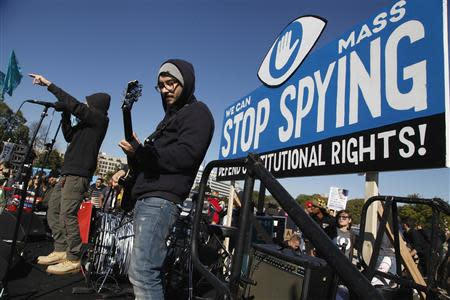 "Musicians Not4Prophet perform during the ""Stop Watching Us: A Rally Against Mass Surveillance"" near the U.S. Capitol in Washington, October 26, 2013. REUTERS/Jonathan Ernst"