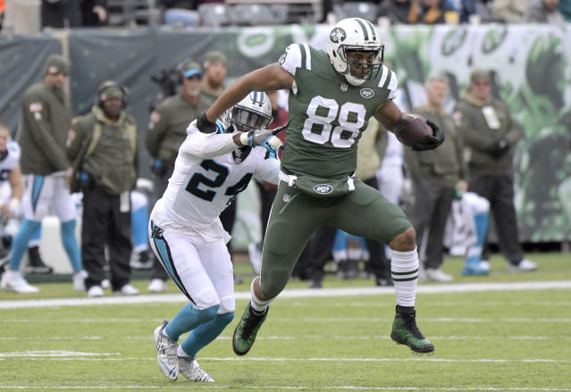 "<a class=""link rapid-noclick-resp"" href=""/nfl/players/27566/"" data-ylk=""slk:Austin Seferian-Jenkins"">Austin Seferian-Jenkins</a> – a free-agent tight end of the <a class=""link rapid-noclick-resp"" href=""/nfl/teams/nyj/"" data-ylk=""slk:New York Jets"">New York Jets</a> – is playing the best football of his career. (AP)"