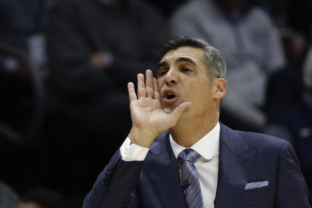 Villanova head coach Jay Wright directs his team during the first half of an NCAA college basketball game against Temple, Wednesday, Dec. 5, 2018, in Villanova, Pa. (AP Photo/Matt Slocum)