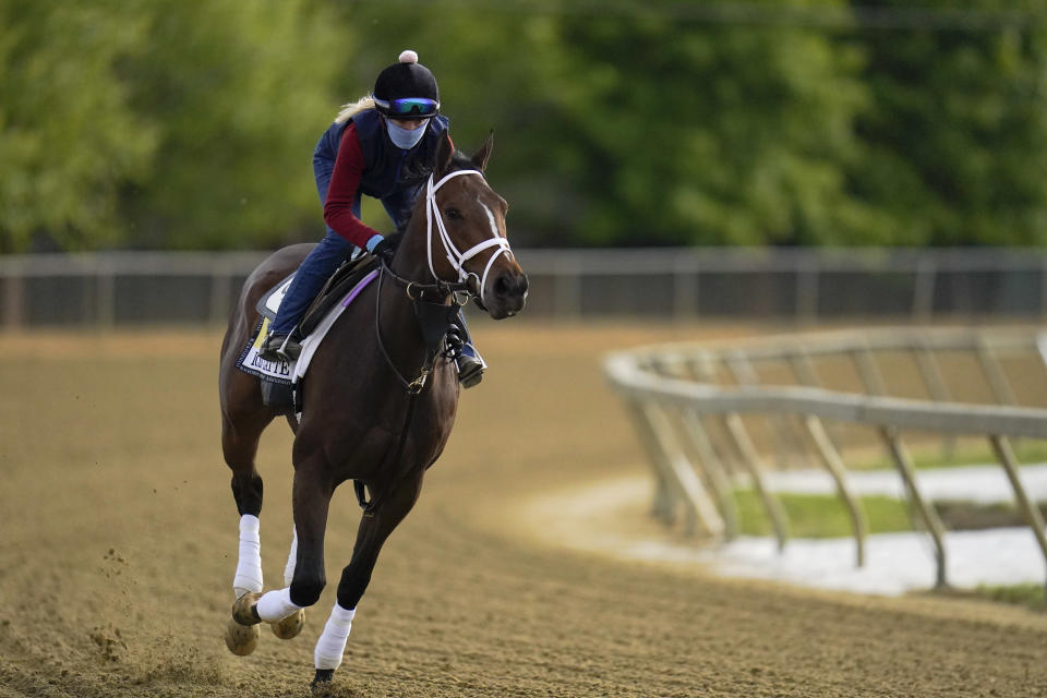 Black-Eyed Susan horse race entrant Iced Latte works out during a training session ahead of the race at Pimlico Race Course, Wednesday, May 12, 2021, in Baltimore. (AP Photo/Julio Cortez)