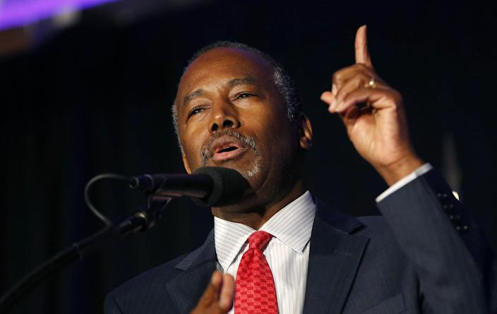 Dr. Ben Carson speaks before a Trump campaign rally in Manchester, N.H., in August 2016. (Photo: Gerald Herbert/AP)