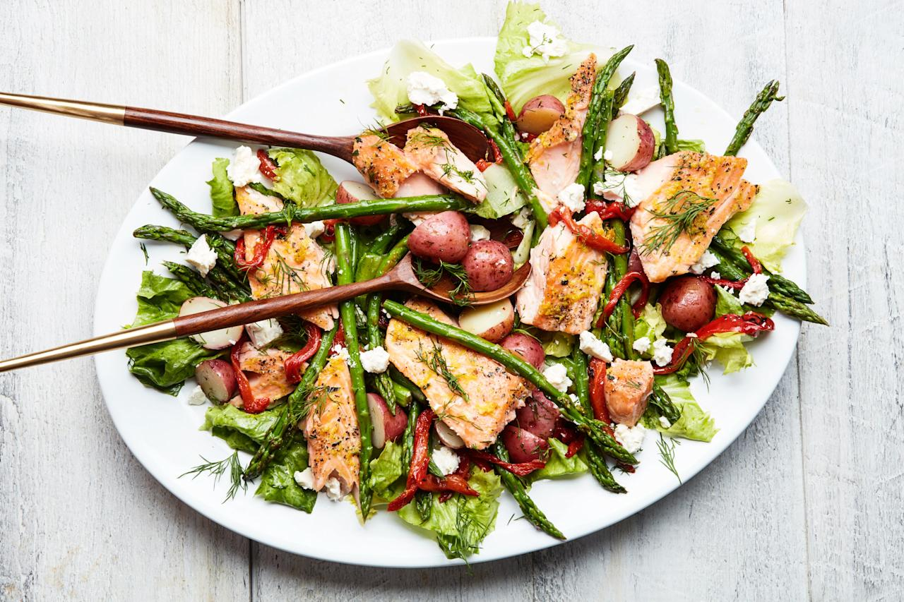 "Inspired by classic Greek flavors, this warm salad is balanced with zesty lemon and feta and sweet tender salmon and spring vegetables. <a href=""https://www.epicurious.com/recipes/food/views/lemon-roasted-salmon-with-escarole-asparagus-and-potatoes?mbid=synd_yahoo_rss"">See recipe.</a>"