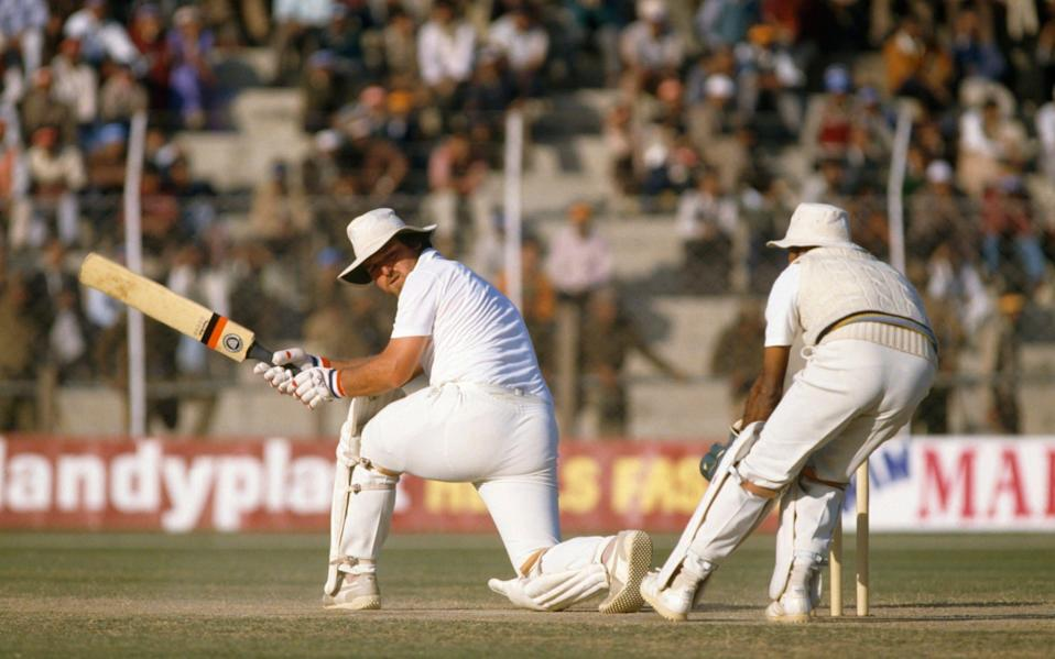 Mike Gatting batting for England during the 2nd Test match between India and England at Feroz Shah Kotla, Delhi, 13th December 1984. - GETTY IMAGES