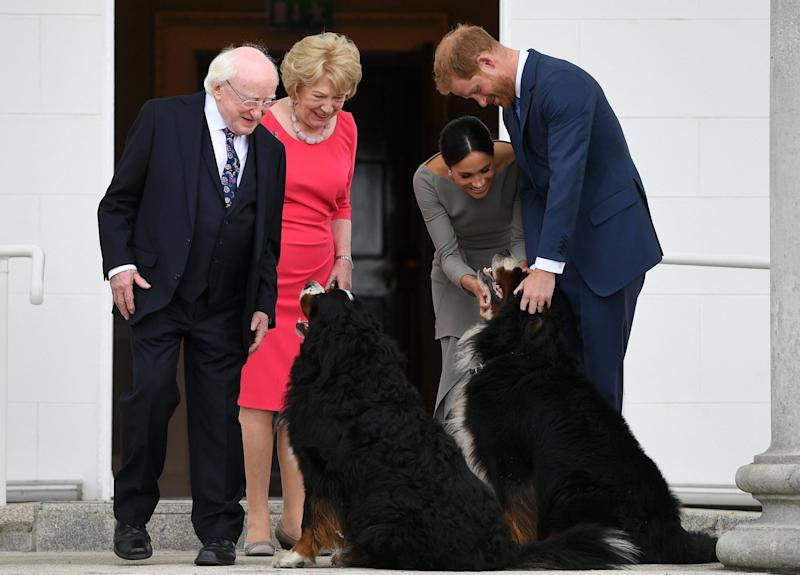 DUBLIN, DUBLIN - JULY 11: Prince Harry, Duke of Sussex and Meghan, Duchess of Sussex visit Irish President Michael Higgins and his wife Sabina Coyne at Aras an Uachtarain during their visit to Ireland on July 11, 2018 in Dublin, Ireland. (Photo by Pool/Samir Hussein/WireImage)