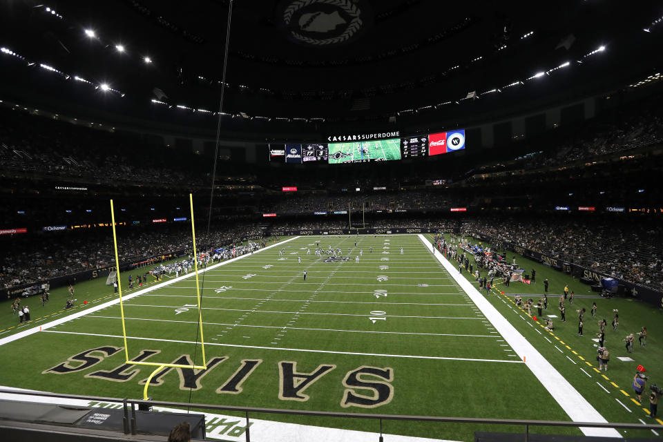 The Saints might not play at the Superdome in September. (AP Photo/Tyler Kaufman)