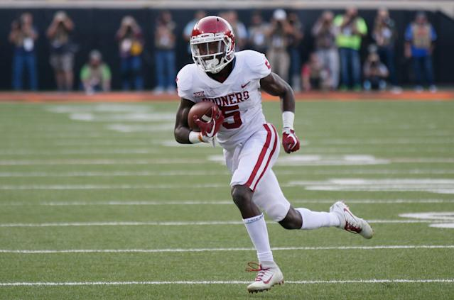 Marquise Brown spent a year in junior college before starring at Oklahoma. (AP Photo/Sue Ogrocki)