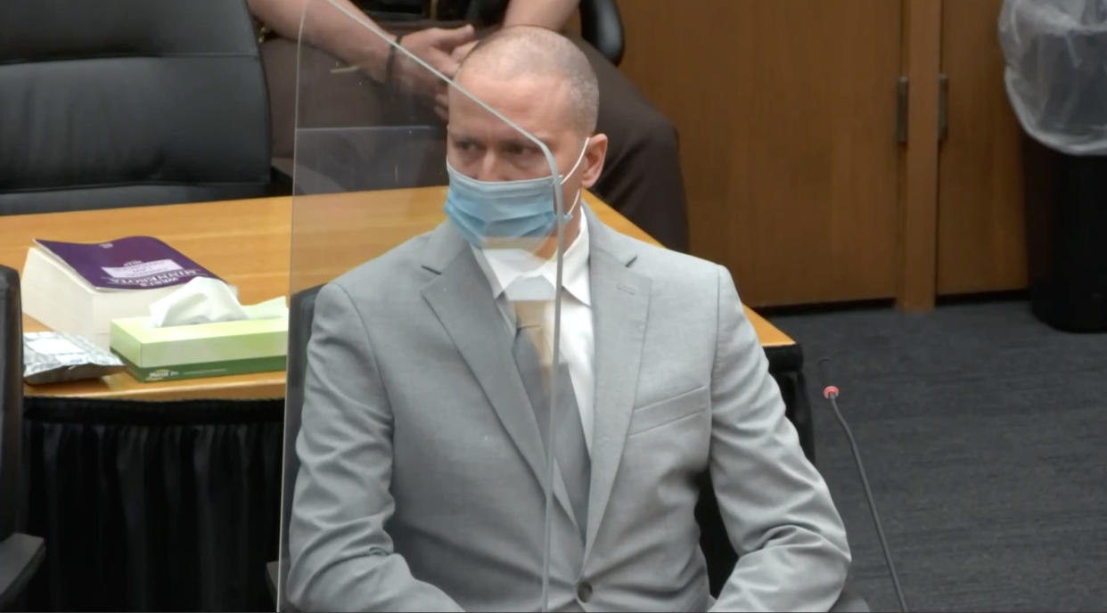 Derek Chauvin awaits his sentence at his hearing on June 25, 2021. Credit: (Court TV via Reuters)