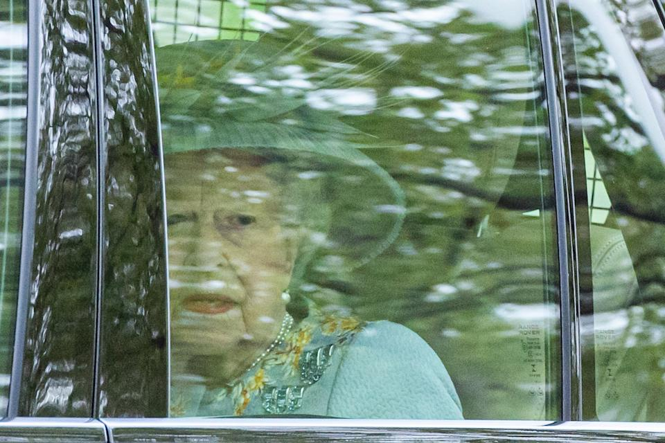 LONDON, ENGLAND - MAY 11: Queen Elizabeth II arrives at the State Opening of Parliament at House of Lords on May 11, 2021 in London, England. (Photo by Samir Hussein/WireImage)