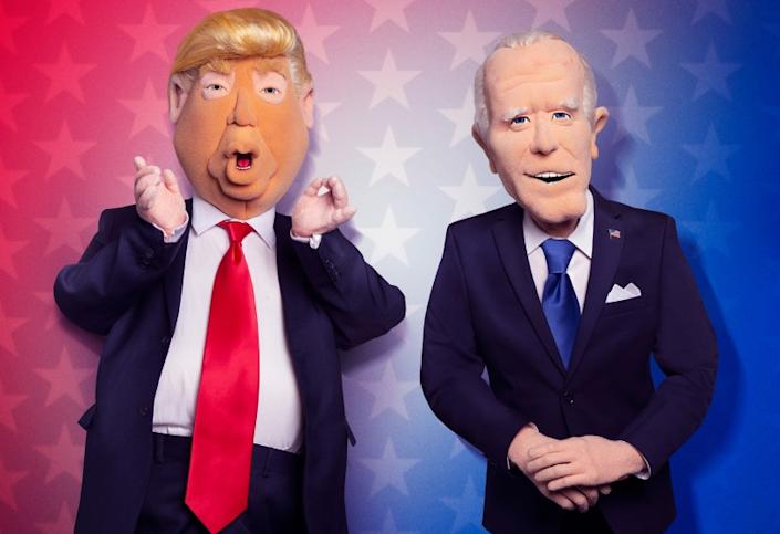 """Let's Be Real -- Fox TV Special, LET'S BE REAL: Donald Trump and Joe Biden as puppets in LET'S BE REAL, the all-new election-themed puppet special executive-produced by Robert Smigel (""""Triumph the Insult Comic Dog"""") airing Thursday, Oct. 1 (9:00-9:30 ET/PT) on FOX. © 2020 Fox Media LLC. CR: Frank Micelotta/FOX. """"Let's Be Real """" on Fox."""