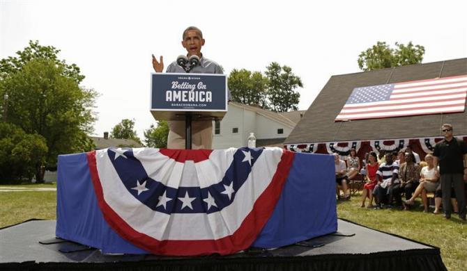 President Barack Obama speaks at a campaign event at the Wolcott House Museum Complex in Maumee, Ohio July 5, 2012.