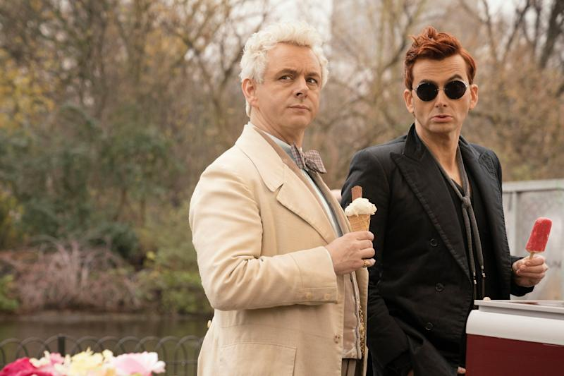 Opposites: Sheen and Tennant in Good Omens, which is based on the book by Terry Pratchett & Neil Gaiman. (PA)