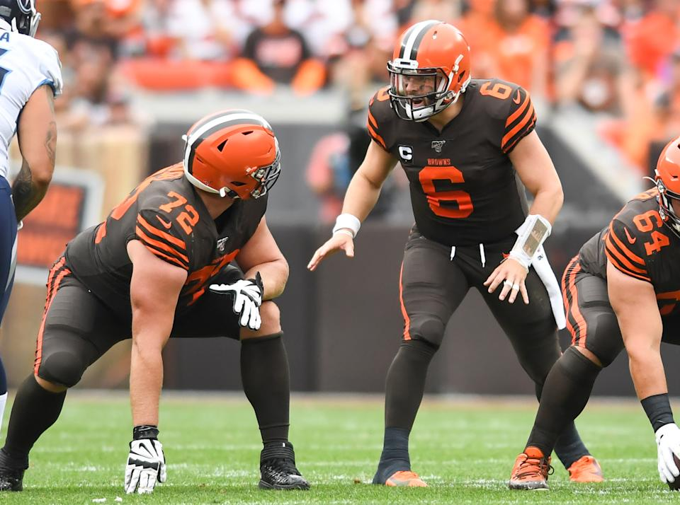 The Browns are aggressively trying to upgrade the offensive line in front of Baker Mayfield, according to sources. (Getty Images)