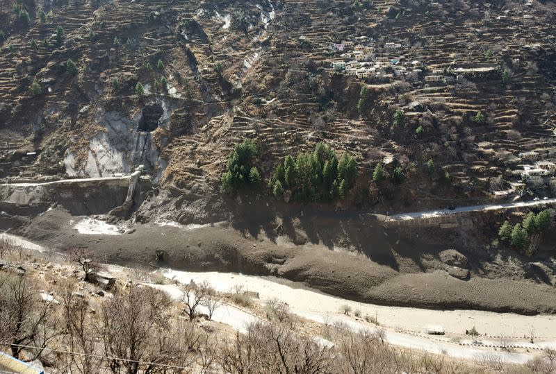 A view of damaged dam after a Himalayan glacier broke and crashed into the dam at Raini Chak Lata