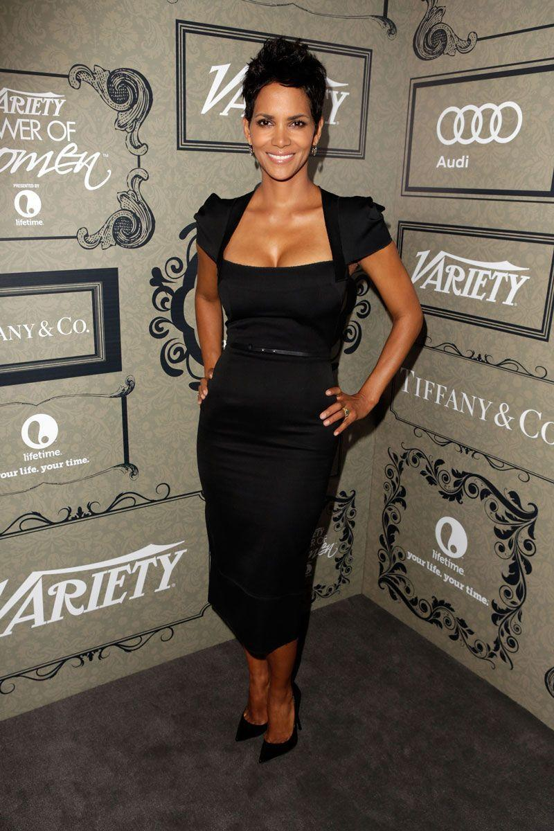 <p>Halle Berry dressed for success at <em>Variety</em>'s 4th annual Power of Women event in a cap sleeved, belted black dress. </p>
