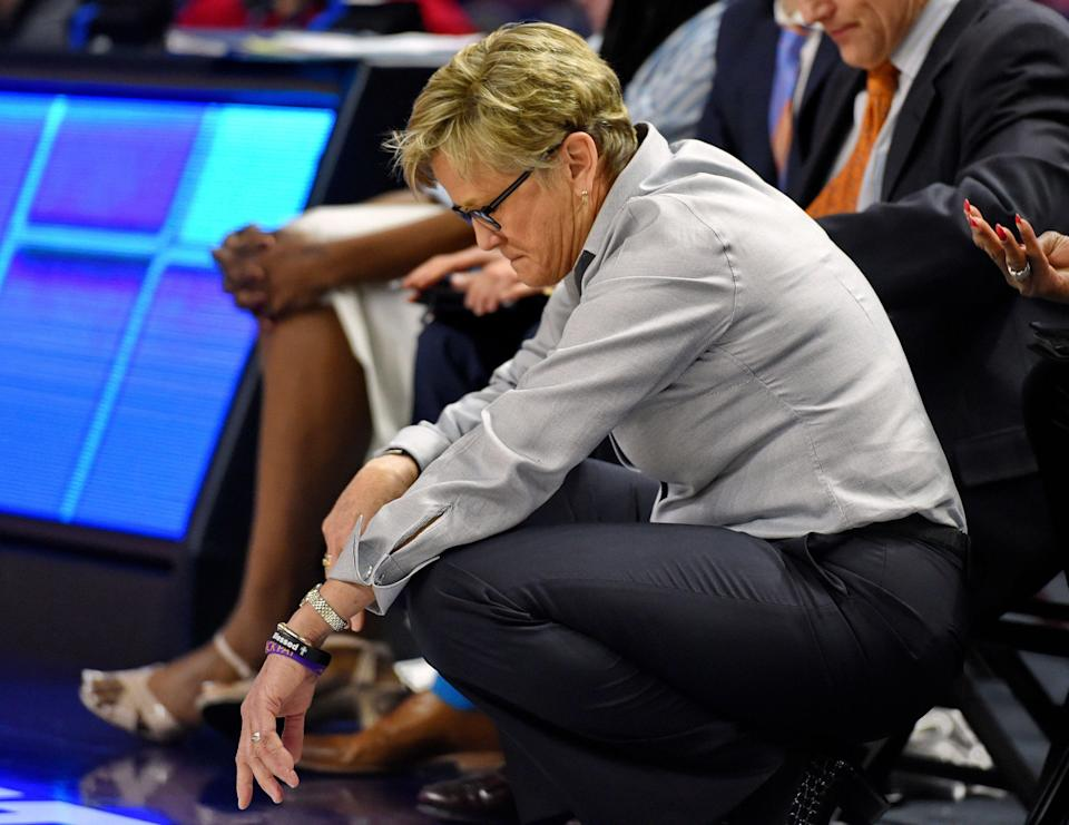 Tennessee head coach Holly Warlick reacts on the sideline during the closing minutes in the second half of an NCAA college basketball game against Mississippi State at the Southeastern Conference women's tournament, Friday, March 8, 2019, in Greenville, S.C. Mississippi State won 83-68. (AP Photo/Richard Shiro)
