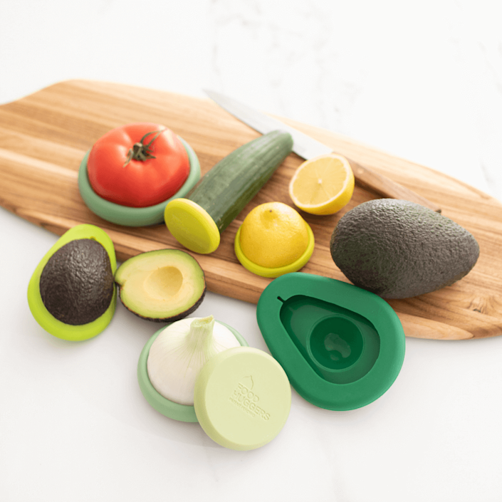 """If you've ever left half of an avocado in the fridge overnight, you know how quickly produce that's been cut into can deteriorate. These silicone food savers literally hug fruits and veggies to prevent oxidation, helping extend the life—and reducing what you might otherwise throw away—of everything from lemons to cucumbers to tomatoes and beyond (they can also double as lids for cans). $20, Food Huggers. <a href=""""https://foodhuggers.com/products/zero-waste-starter-kit"""" rel=""""nofollow noopener"""" target=""""_blank"""" data-ylk=""""slk:Get it now!"""" class=""""link rapid-noclick-resp"""">Get it now!</a>"""
