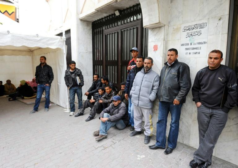 Demonstrators blocked access to the labour ministry headquarters in protest at the results of a recruitment exam organized by the Phosphate Gafsa Company