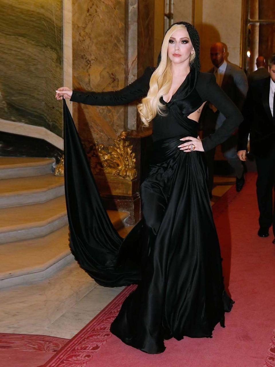 <p>Lady Gaga wearing Atelier Versace to the Versace spring summer 2014 Haute Couture show during Haute Couture fashion week in Paris.</p>