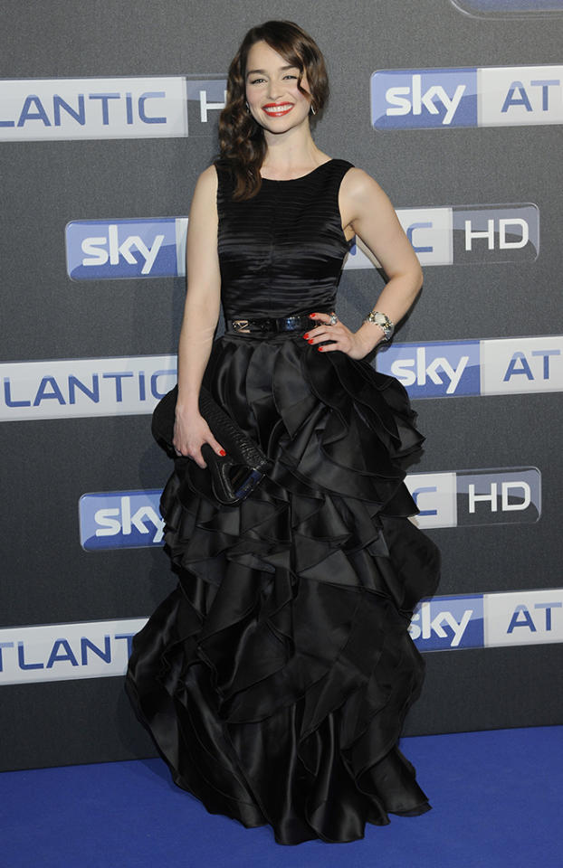 "Emilia Clarke attends SKY launchevent Party at ""Schuppen 52"" on May 23, 2012 in Hamburg, Germany."