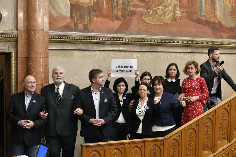 Hungarian opposition lawmakers fined for parliament protest