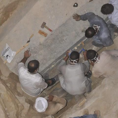 The unopened 2,000-year-old sarcophagus was discovered in Alexandria several weeks ago - Credit: Egyptian Ministry of Antiques