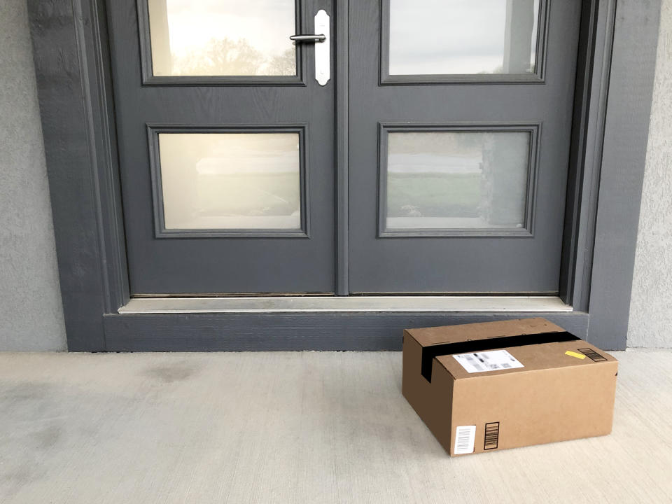 package at front double doors
