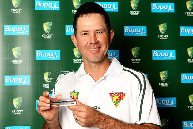 Ricky Ponting poses with the award for Sheffield Shield player of the year during the State Cricket Awards at Blundstone Arena on March 20, 2013 in Hobart, Australia.  (Photo by Robert Prezioso/Getty Images)