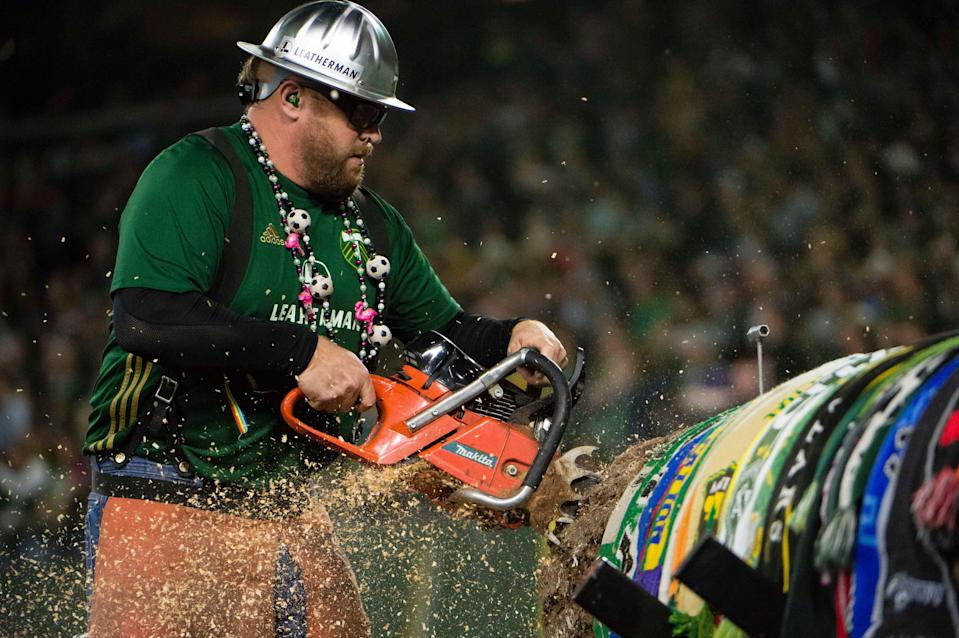 Timber Joey cuts a log after a Portland Timbers goal at Providence Park.