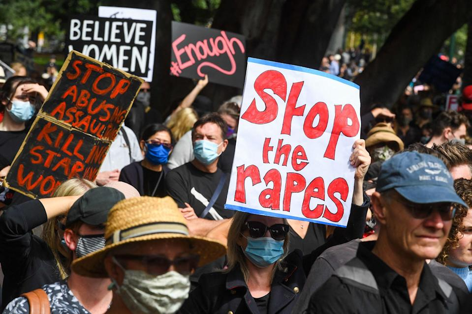 <p>People attend a protest against sexual violence and gender inequality in Melbourne on 15 March, 2021</p> (AFP via Getty Images)