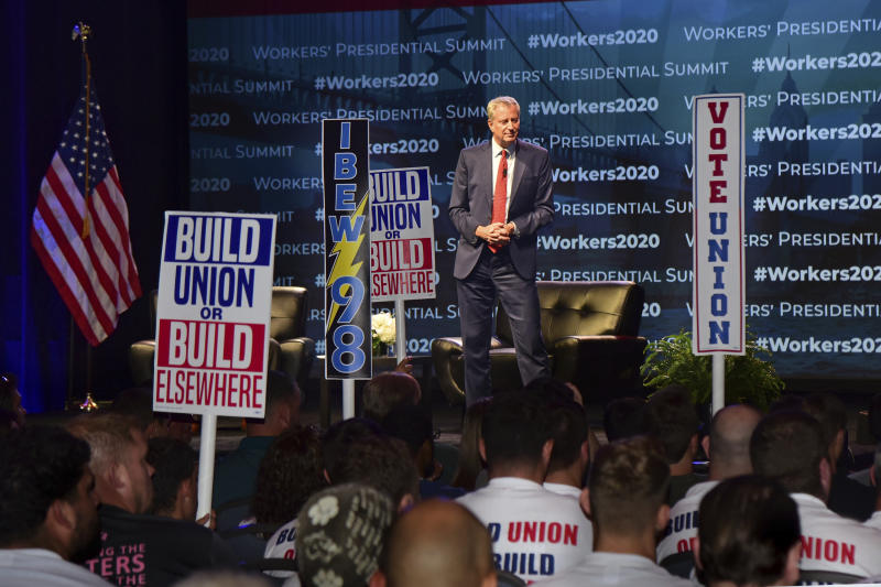 "Democratic presidential candidate New York City Mayor Bill de Blasio speaks at the first-ever ""Workers' Presidential Summit"" at the Convention Center in Philadelphia, Tuesday, Sept. 17, 2019. The Philadelphia Council of the AFL-CIO hosted the event. (Tom Gralish/The Philadelphia Inquirer via AP)"