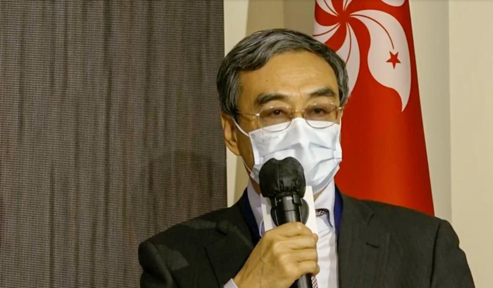Former Hong Kong and Macau Affairs Office deputy director Feng Wei speaks at a legal summit on Tuesday. Photo: Facebook