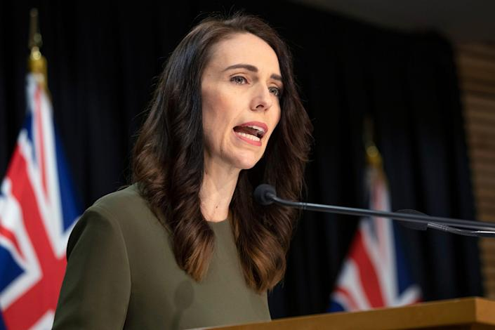 New Zealand Prime Minister Jacinda Ardern announces a new date for national elections, during a news conference in Wellington, New Zealand, on Aug. 17, 2020.
